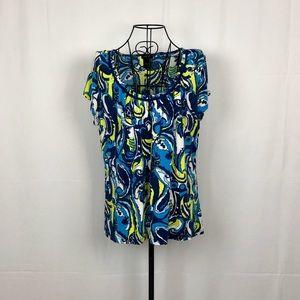 Ann Taylor abstract paisley knit shirt XL